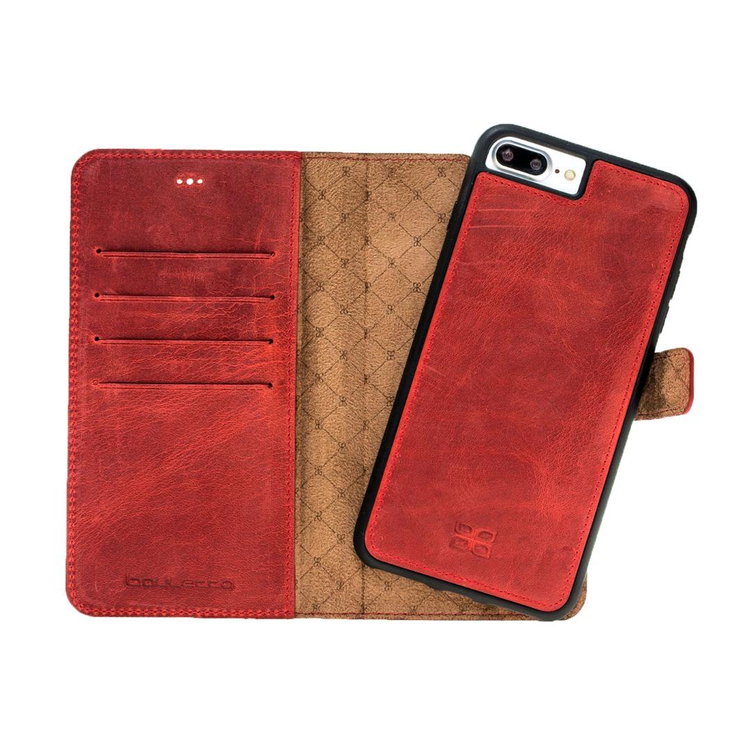 Husa piele naturala 2 in 1, tip portofel + back cover, iPhone 8 Plus / 7 Plus - Bouletta Magic Wallet, Antique red
