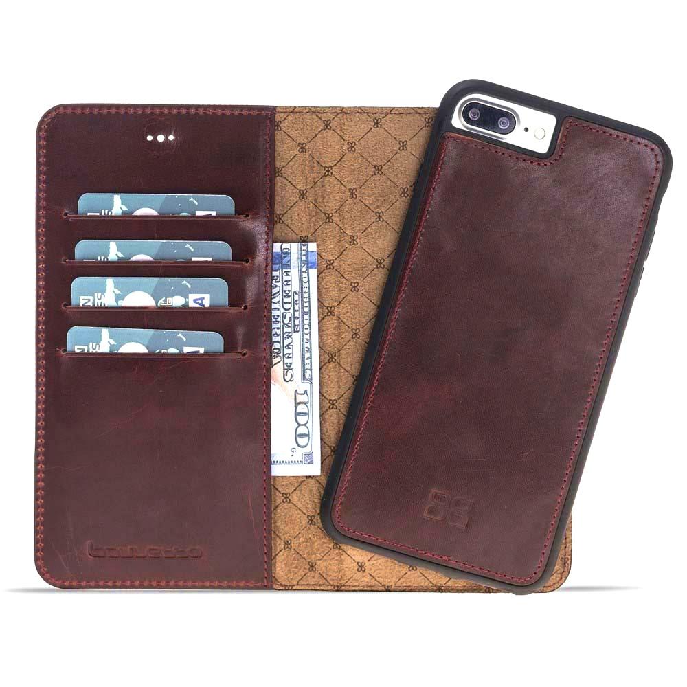 Husa piele naturala 2 in 1, tip portofel + back cover, iPhone 8 Plus / 7 Plus - Bouletta Magic Wallet, Bordeaux
