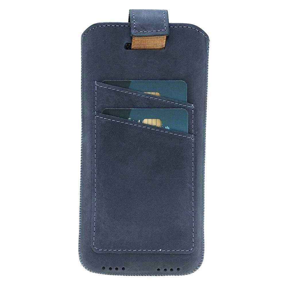 Husa tip saculet piele naturala, inchidere ferma, buzunare carduri, telefoane pana la 159mm - Bouletta Multi Case CC, Antique blue