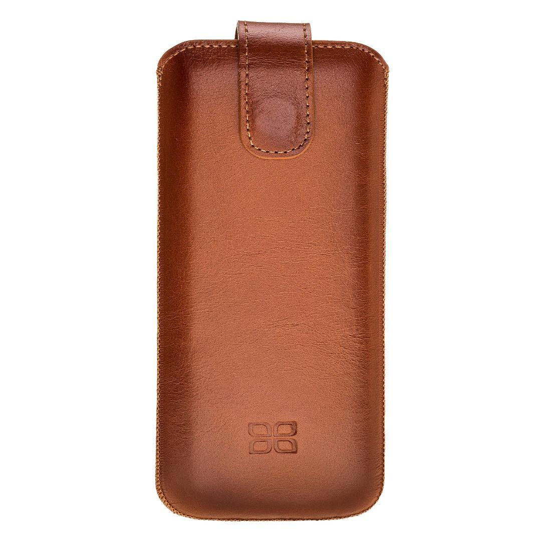 Husa tip saculet piele naturala, inchidere ferma, telefoane pana la 163mm - Bouletta Multi Case, Burnished tan