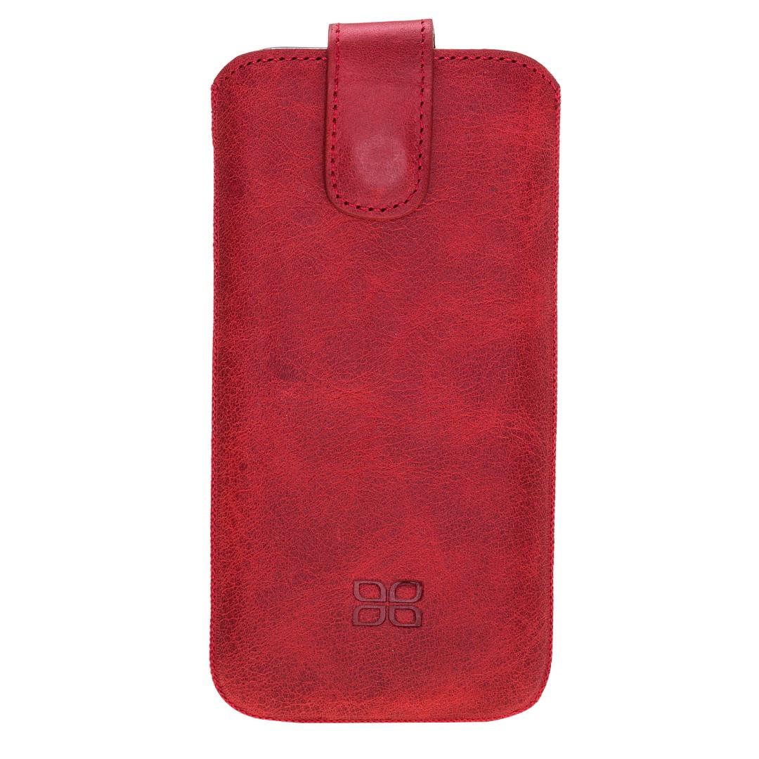 Husa tip saculet piele naturala, inchidere ferma, telefoane pana la 159mm - Bouletta Multi Case, Tiana red