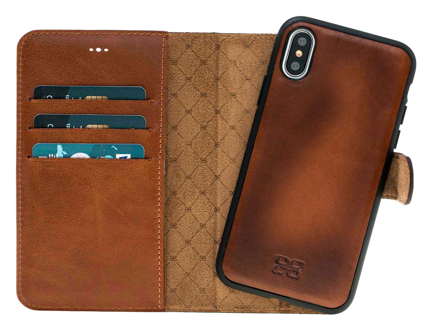 Husa piele naturala 2 in 1, tip portofel + back cover, iPhone X / XS - Bouletta Magic Wallet, Burnished tan