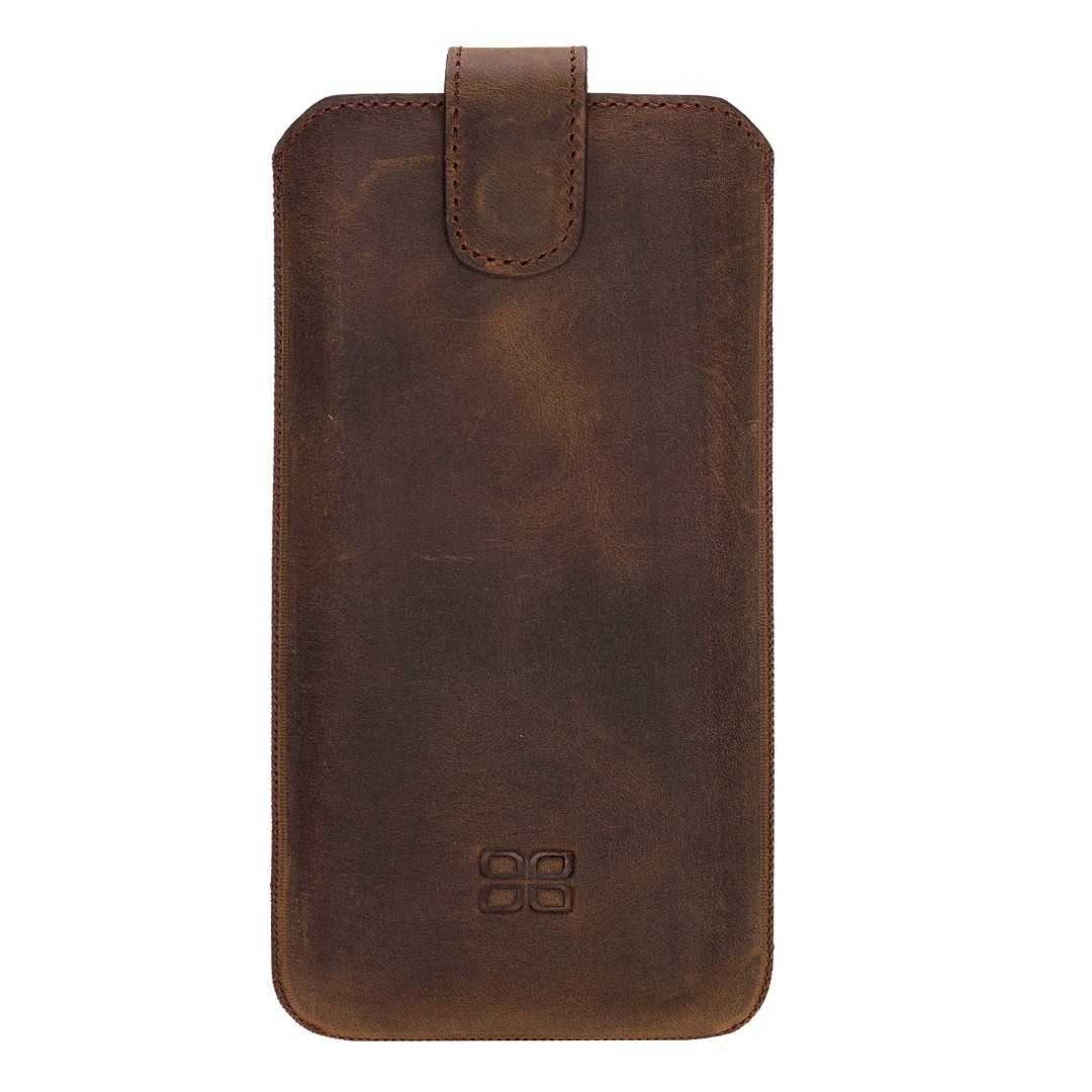 Husa tip saculet din piele naturala, inchidere magnetica ferma, iPhone X / XS - Bouletta Multi Case, Antique coffee