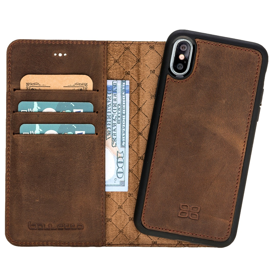 Husa piele naturala 2 in 1, tip portofel + back cover, iPhone X / XS - Bouletta Magic Wallet, Antique coffee