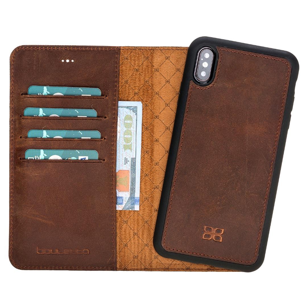 Husa piele naturala 2 in 1, tip portofel + back cover, iPhone XS Max - Bouletta Magic Wallet, Antique coffee