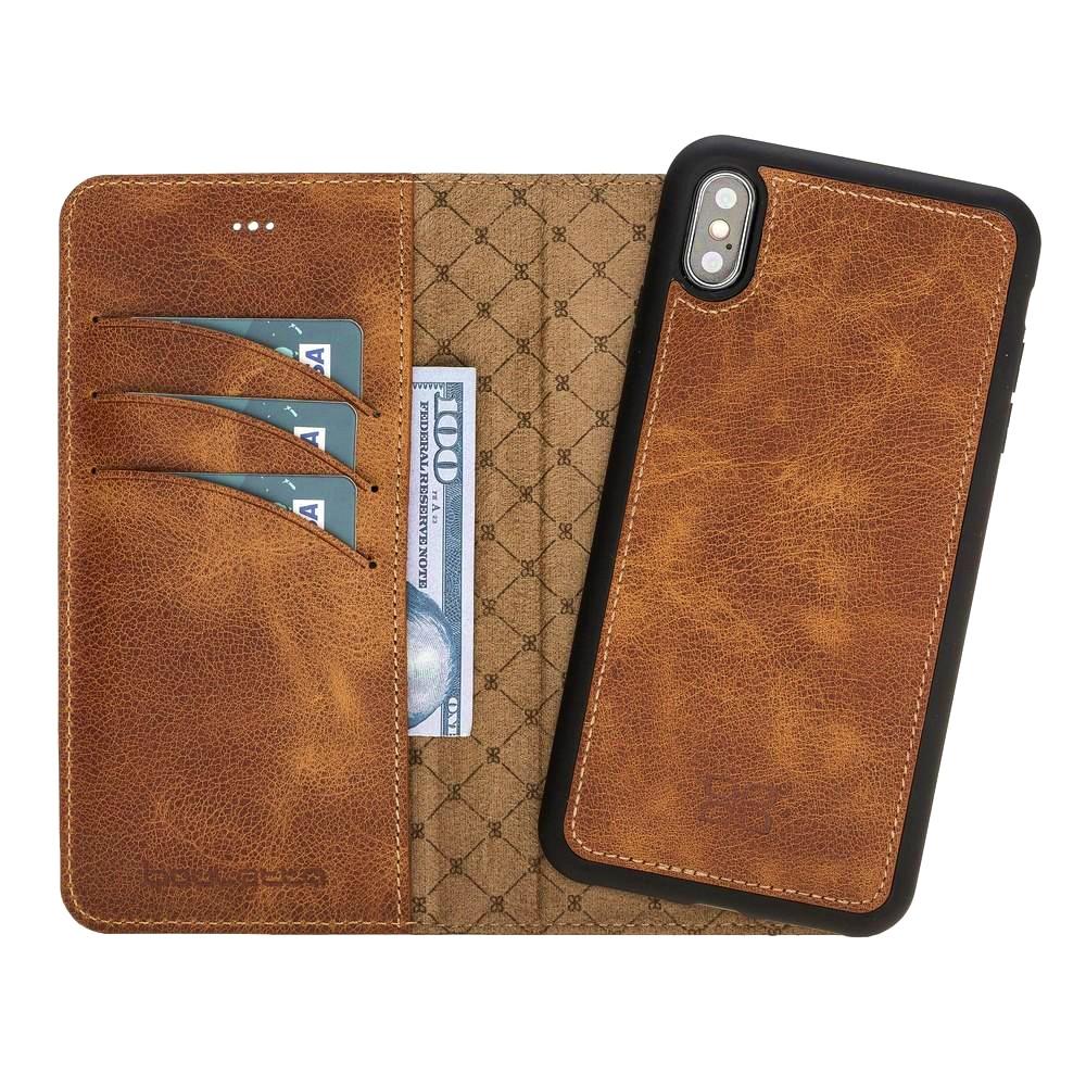 Husa piele naturala 2 in 1, tip portofel + back cover, iPhone XS Max - Bouletta Magic Wallet, Tiana tan
