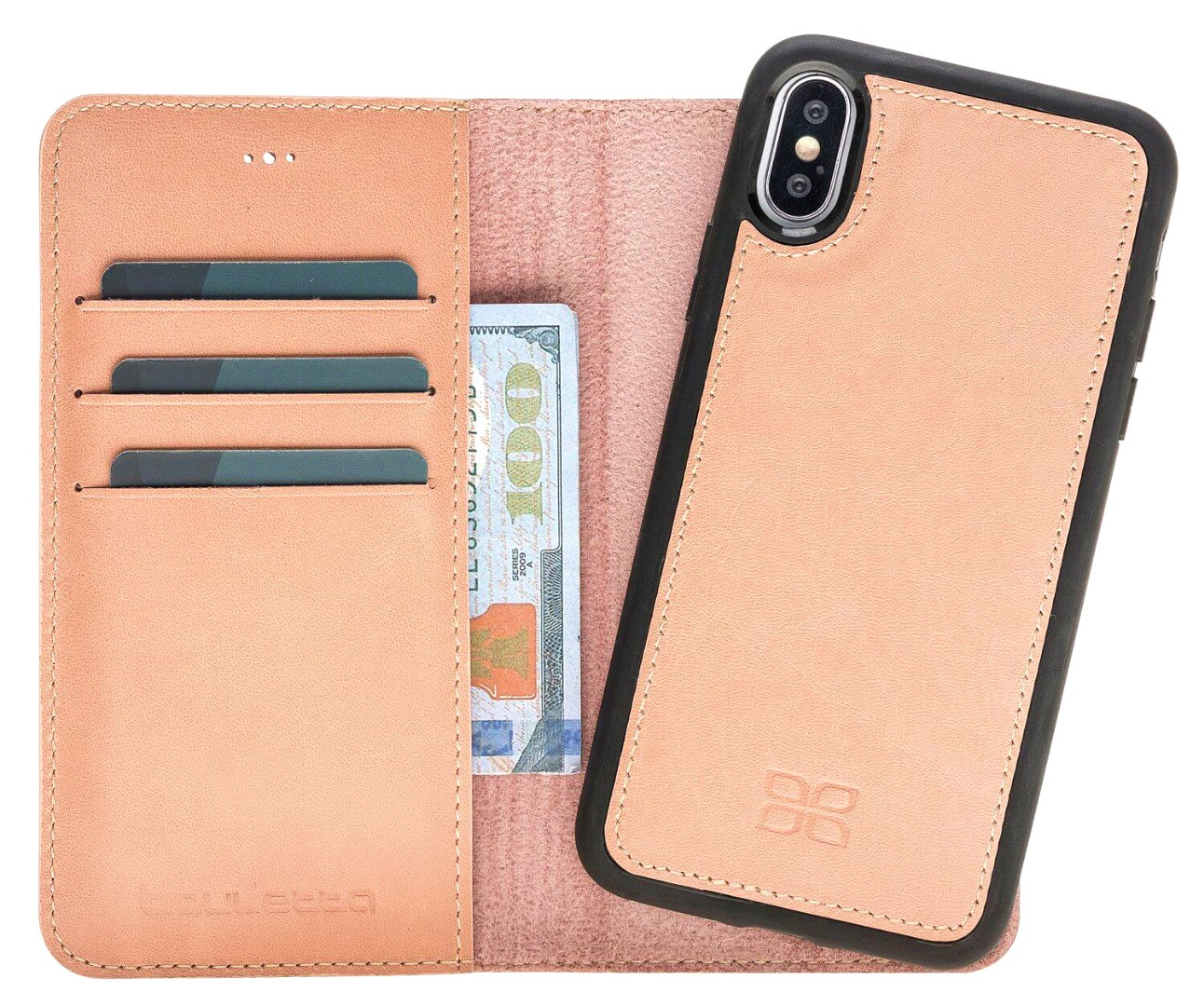 Husa piele naturala 2 in 1, tip portofel + back cover, iPhone X / XS - Bouletta Magic Wallet, Nude pink