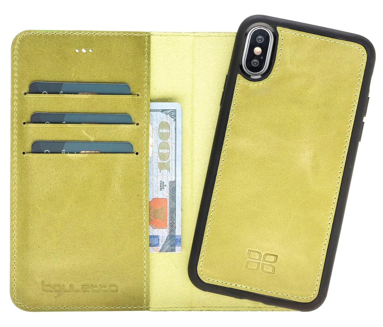 Husa piele naturala 2 in 1, tip portofel + back cover, iPhone X / XS - Bouletta Magic Wallet, Verde