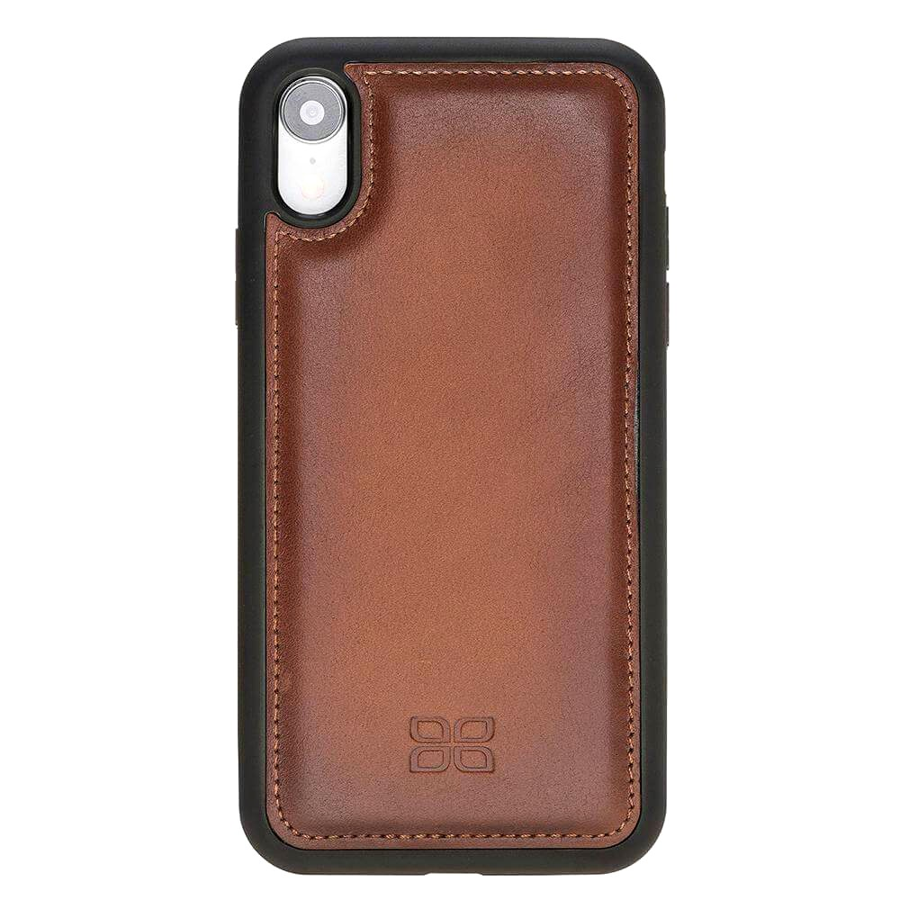 Husa slim piele naturala + rama TPU moale, tip back cover, iPhone XR - Bouletta Flex Cover, Burnished tan