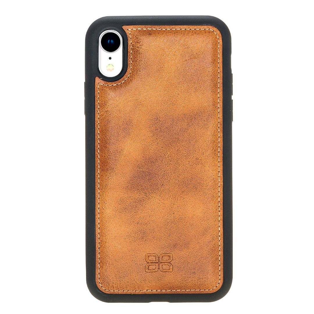 Husa slim piele naturala + rama TPU moale, tip back cover, iPhone XR - Bouletta Flex Cover, Tan