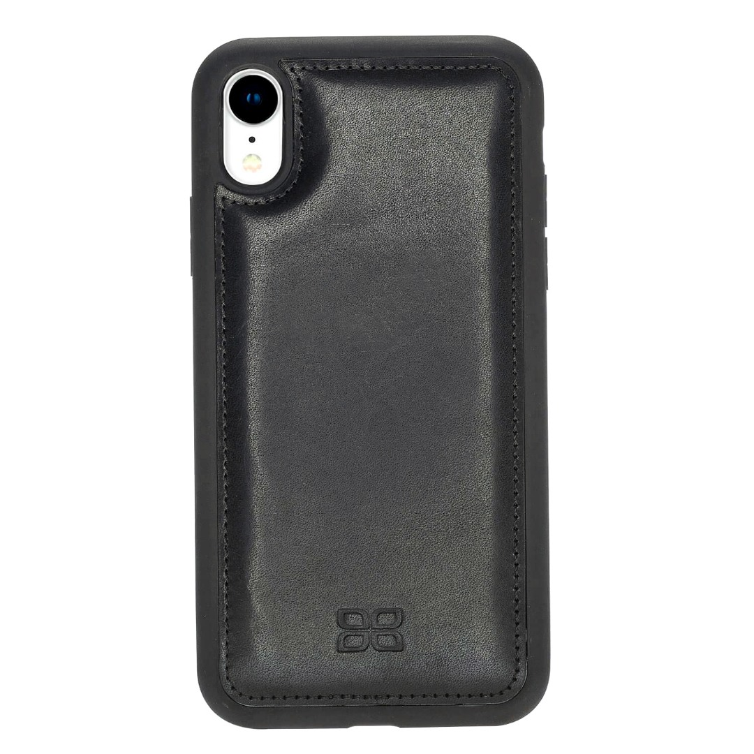 Husa slim piele naturala + rama TPU moale, tip back cover, iPhone XR - Bouletta Flex Cover, Rustic black
