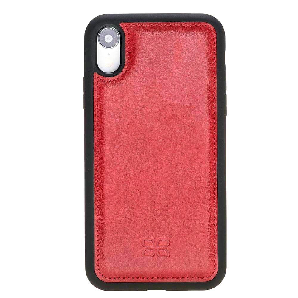 Husa slim piele naturala + rama TPU moale, tip back cover, iPhone XR - Bouletta Flex Cover, Rosu