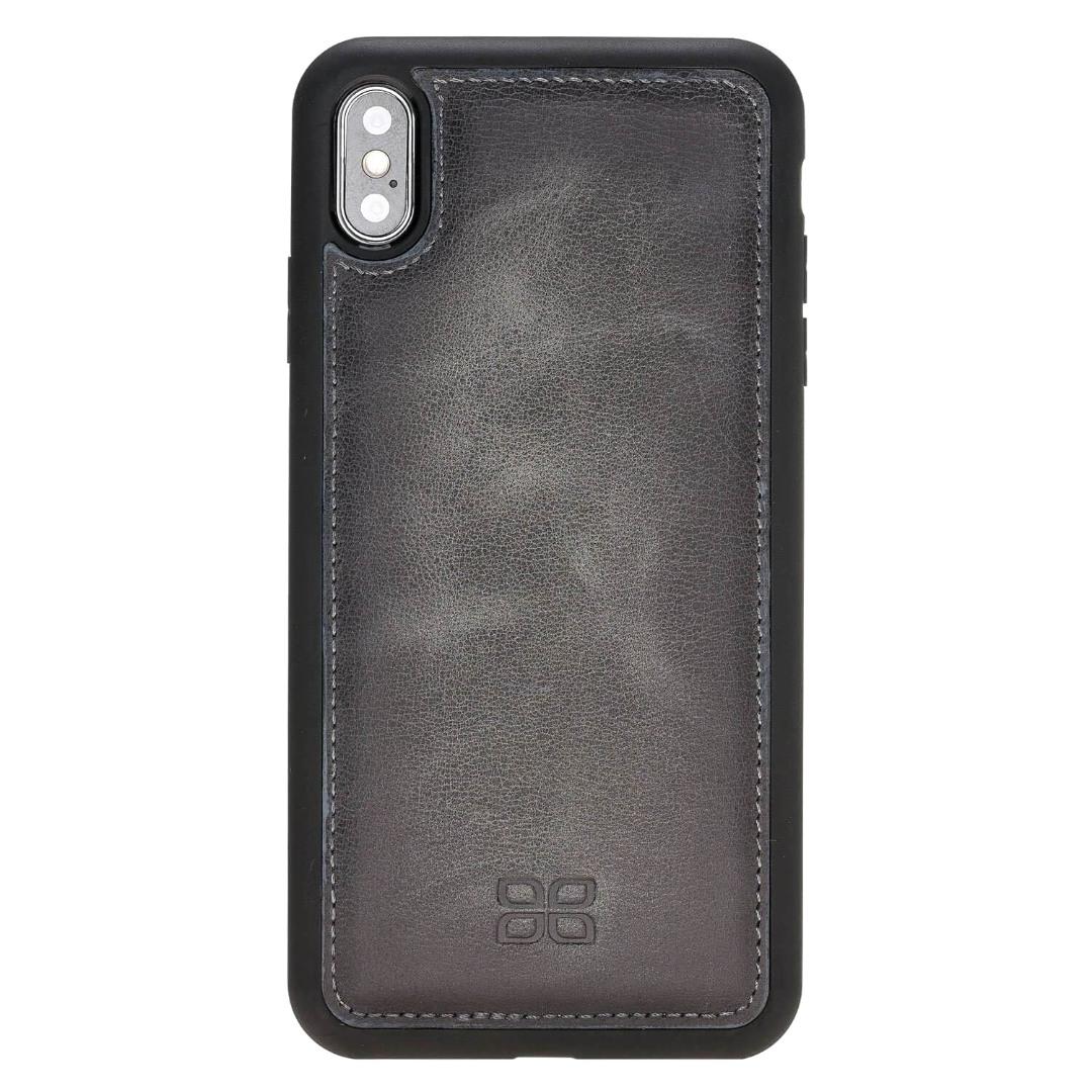 Husa slim piele naturala + rama TPU moale, tip back cover, iPhone XS Max - Bouletta Flex Cover, Burnished grey
