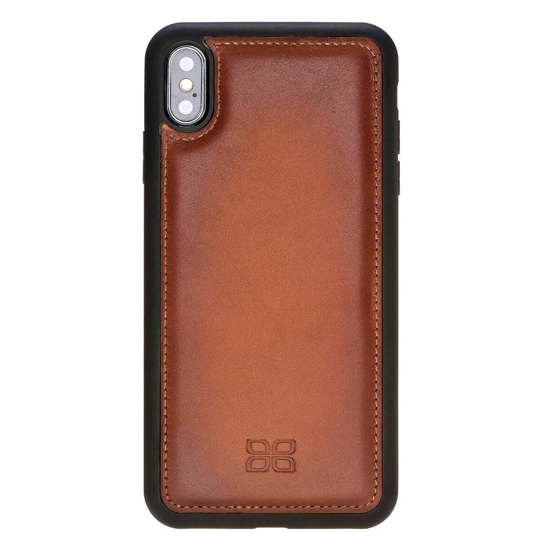 Husa slim piele naturala + rama TPU moale, tip back cover, iPhone XS Max - Bouletta Flex Cover, Burnished tan