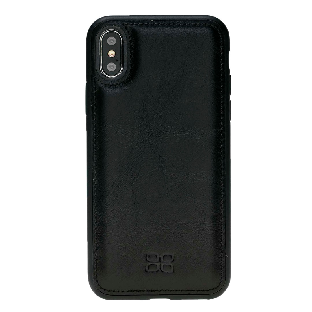 Husa slim piele naturala + rama TPU moale, tip back cover, iPhone XS Max - Bouletta Flex Cover, Rustic black