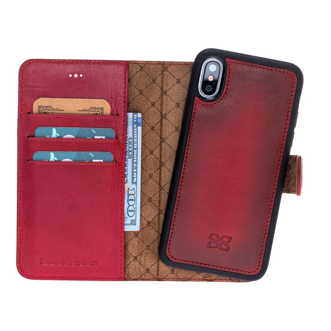 Husa piele naturala 2 in 1, tip portofel + back cover, iPhone XS Max - Bouletta Magic Wallet, Burnished red