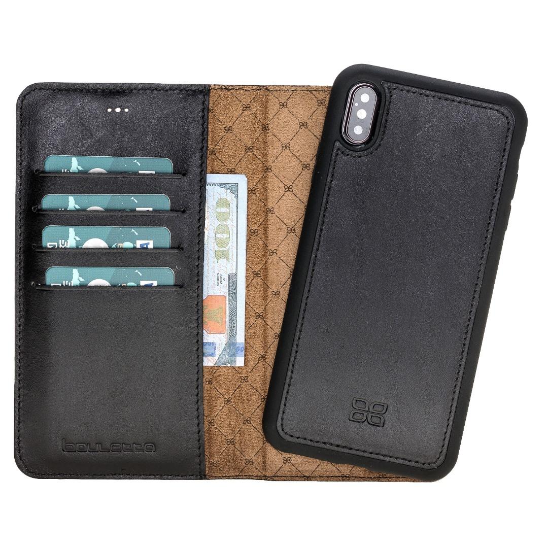 Husa piele naturala 2 in 1, tip portofel + back cover, iPhone XS Max - Bouletta Magic Wallet, Rustic black