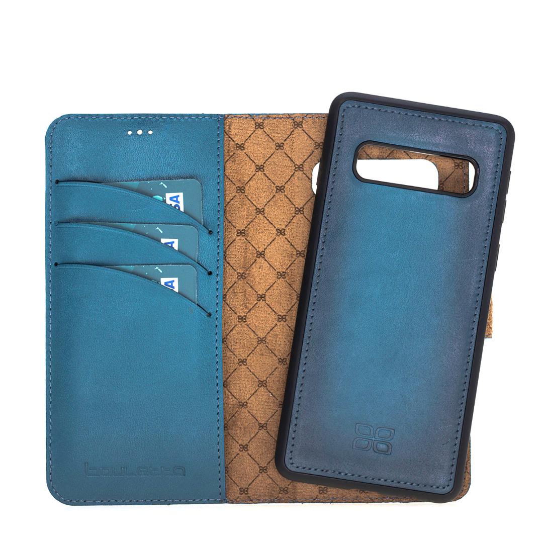 Husa piele naturala 2in1, portofel + back cover, Samsung Galaxy S10 Plus - Bouletta Magic Wallet, Burninshed blue