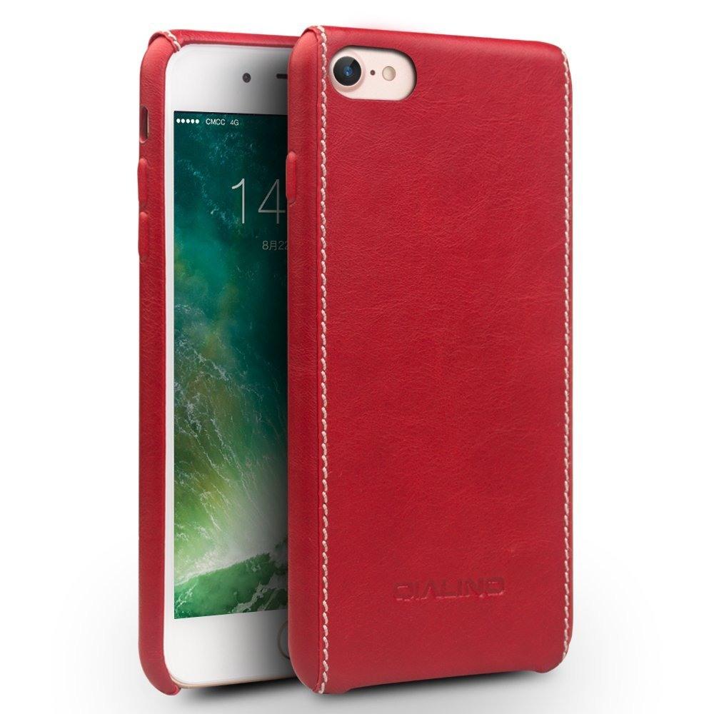 Husa slim din piele naturala, cusatura alba contrast, tip back cover, iPhone 8 / iPhone 7 - Qialino, Rosu