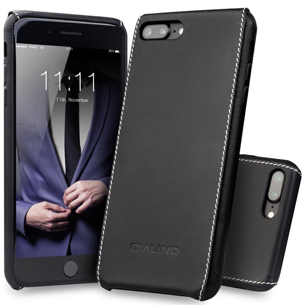 Husa slim din piele naturala, cusatura alba contrast, back cover, iPhone 8 Plus / 7 Plus - Qialino, Negru
