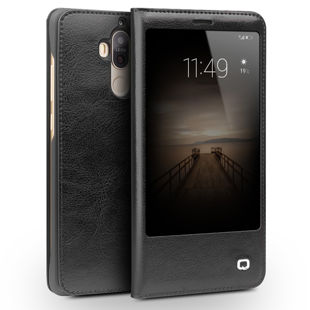 Husa slim din piele fina naturala, smart cover, Huawei Mate 9 - Qialino Smart Leather, Negru