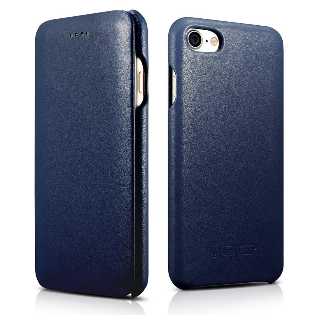 Husa din piele naturala, tip carte, iPhone SE 2 (2020), iPhone 8, iPhone 7, iPhone 6 / 6s - iCarer Luxury Curved Series, Albastru
