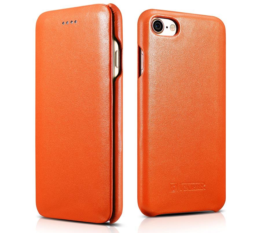 Husa din piele naturala, tip carte, iPhone 8 / iPhone 7 / iPhone 6 / 6s - iCarer Luxury Curved Series, Portocaliu