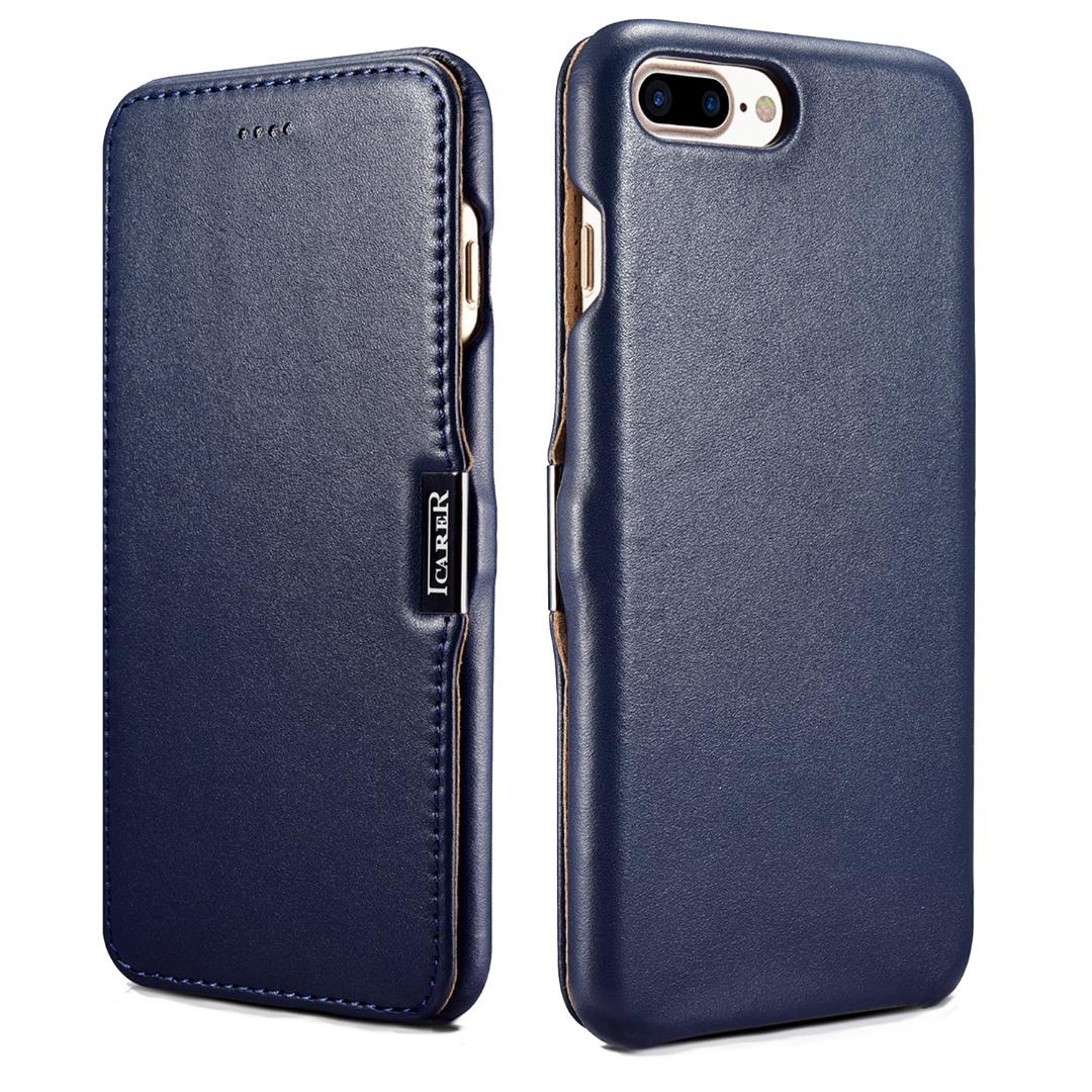 Husa din piele naturala, tip carte cu inchidere magnetica, iPhone 8 Plus / 7 Plus - iCARER Luxury Series, Albastru