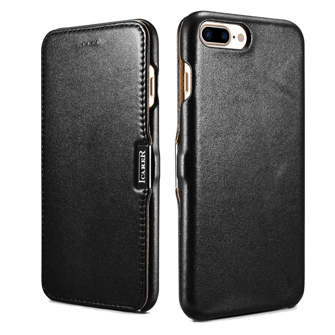 Husa din piele naturala, tip carte cu inchidere magnetica, iPhone 8 Plus / 7 Plus - iCARER Luxury Series, Negru