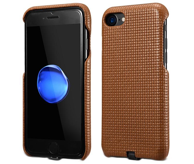 Husa din piele naturala cu adaptor QI incarcare wireless, tip back cover, iPhone 7 / iPhone 6 / 6s - iCarer Woven, Maro