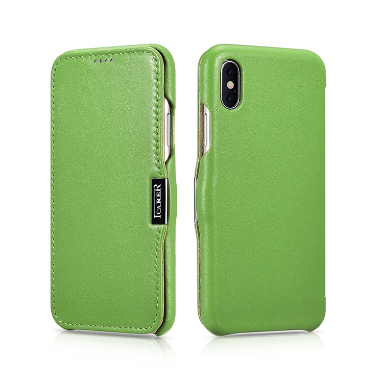 Husa din piele, tip carte, iPhone X / XS - iCARER Luxury Series Side Open, Verde