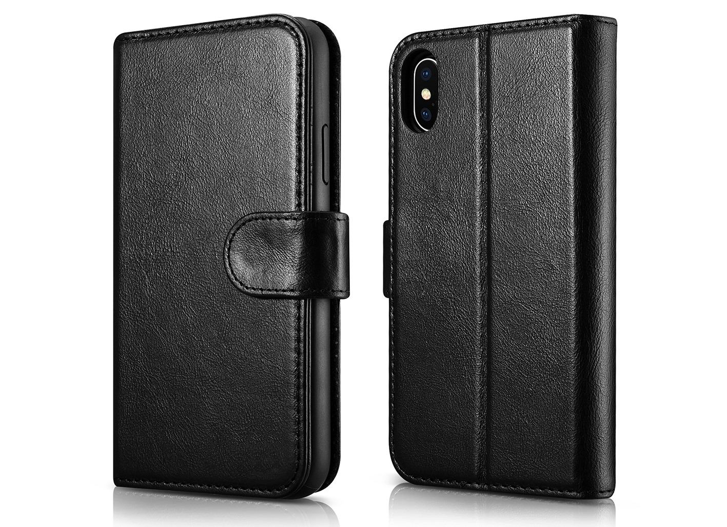 Husa piele naturala 2 in 1, inchidere magnetica, tip carte + back cover, stand, iPhone X / XS - iCarer Detachable, Negru
