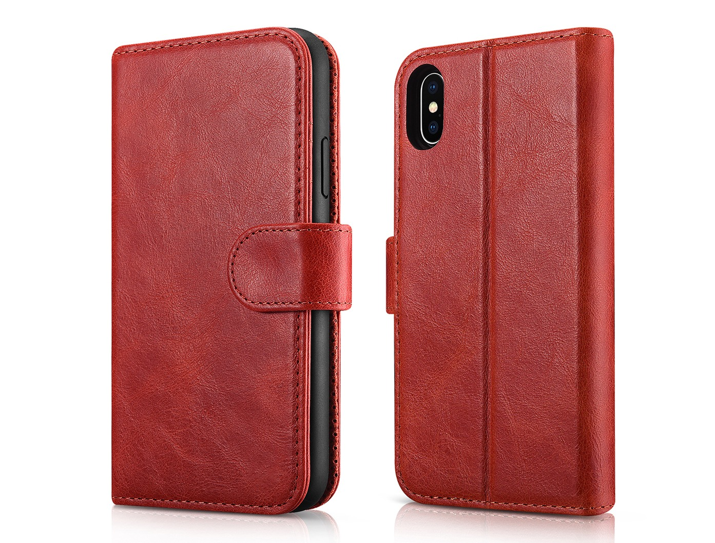 Husa piele naturala 2 in 1, inchidere magnetica, tip carte + back cover, stand, iPhone X / XS - iCarer Detachable, Rosu