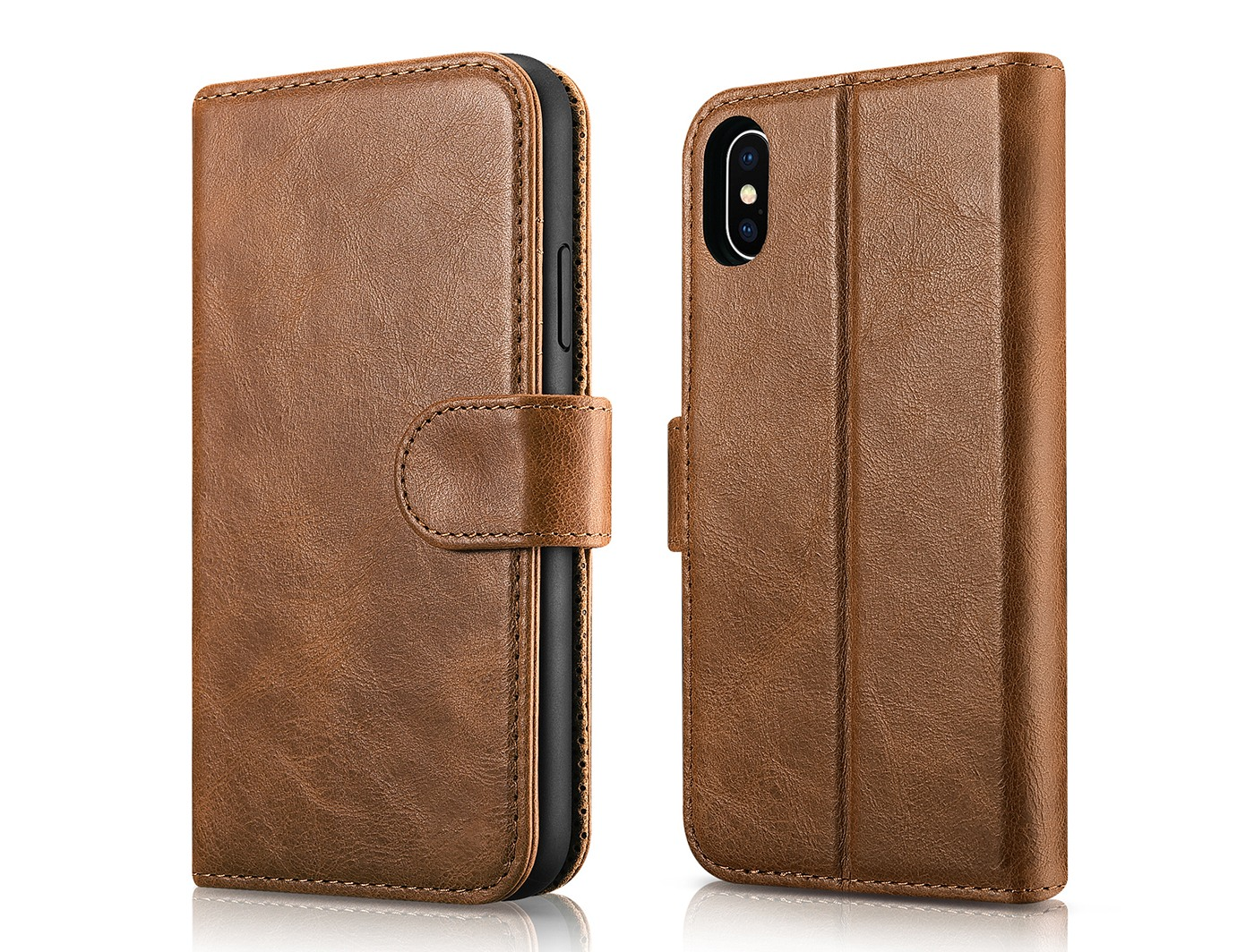 Husa piele naturala 2 in 1, inchidere magnetica, tip carte + back cover, stand, iPhone X / XS - iCarer Detachable, Maro