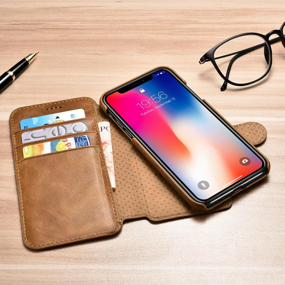 Husa piele naturala 2 in 1, inchidere magnetica, tip carte + back cover, iPhone XR - iCarer, Maro
