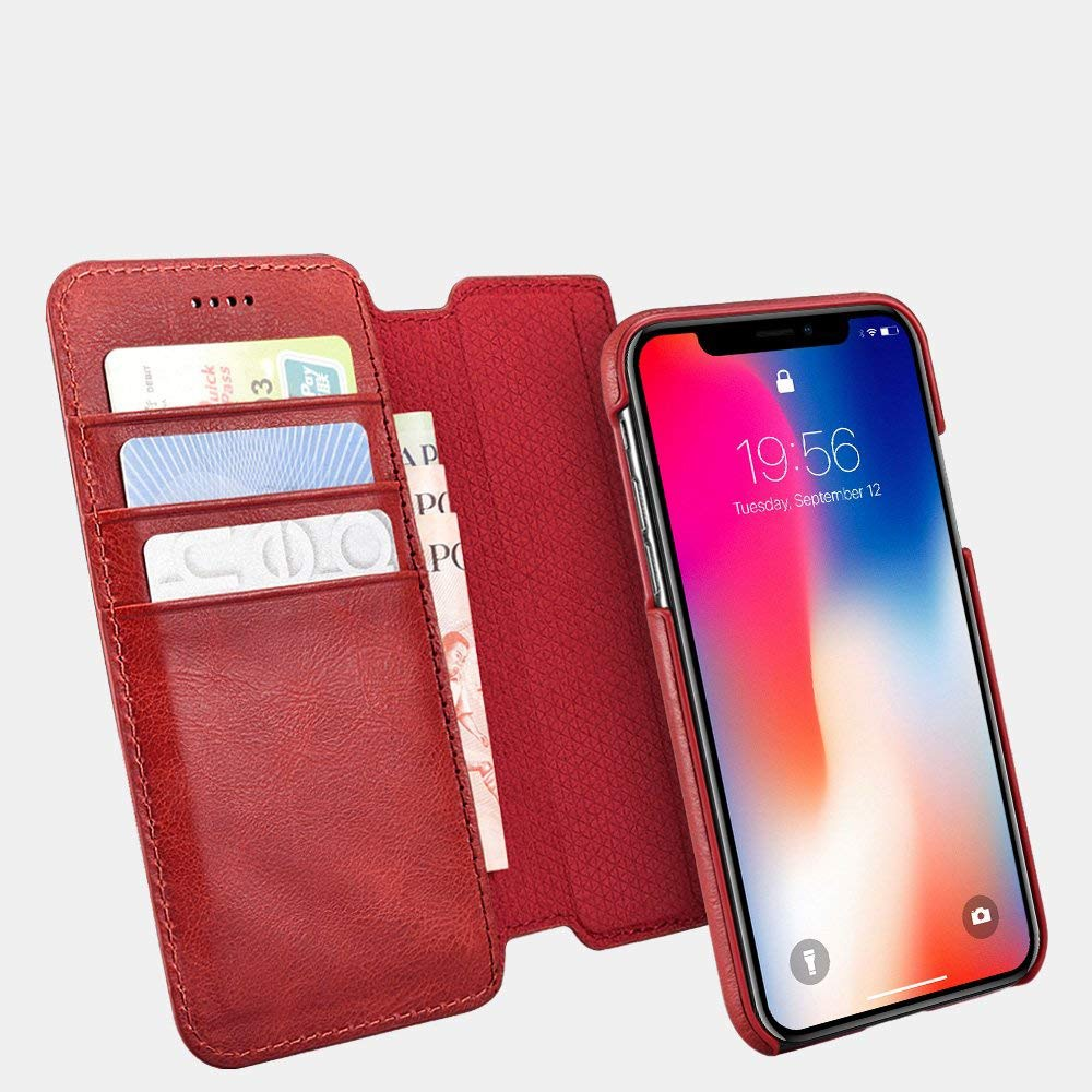 Husa piele naturala 2 in 1, inchidere magnetica, tip carte + back cover, iPhone XR - iCarer, Rosu