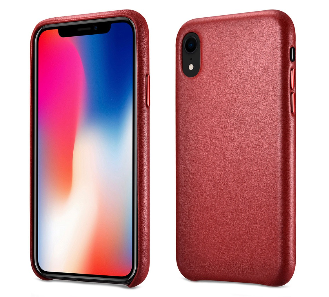 Husa slim din piele naturala, protectie butoane, back cover, iPhone XR - iCarer, Rosu