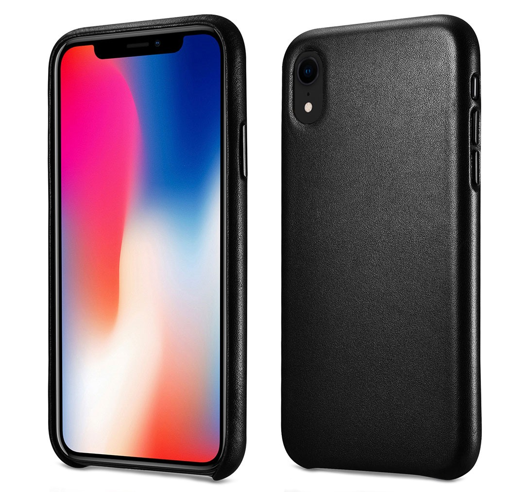 Husa slim din piele naturala, protectie butoane, back cover, iPhone XR - iCarer, Negru