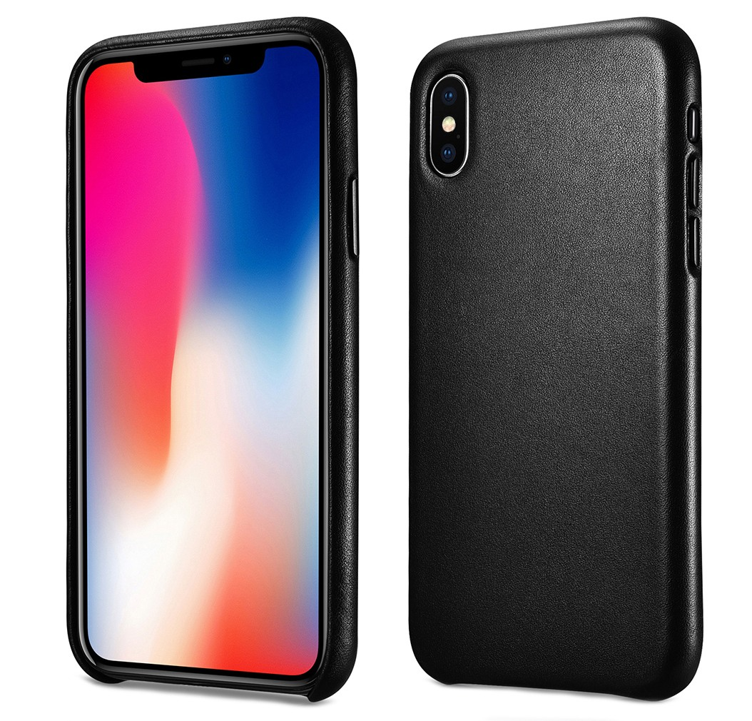 Husa slim din piele naturala, protectie butoane, back cover, iPhone XS Max - iCarer, Negru