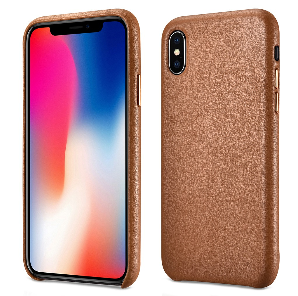 Husa slim din piele naturala, protectie butoane, back cover, iPhone XS Max, iCarer, maro tabac