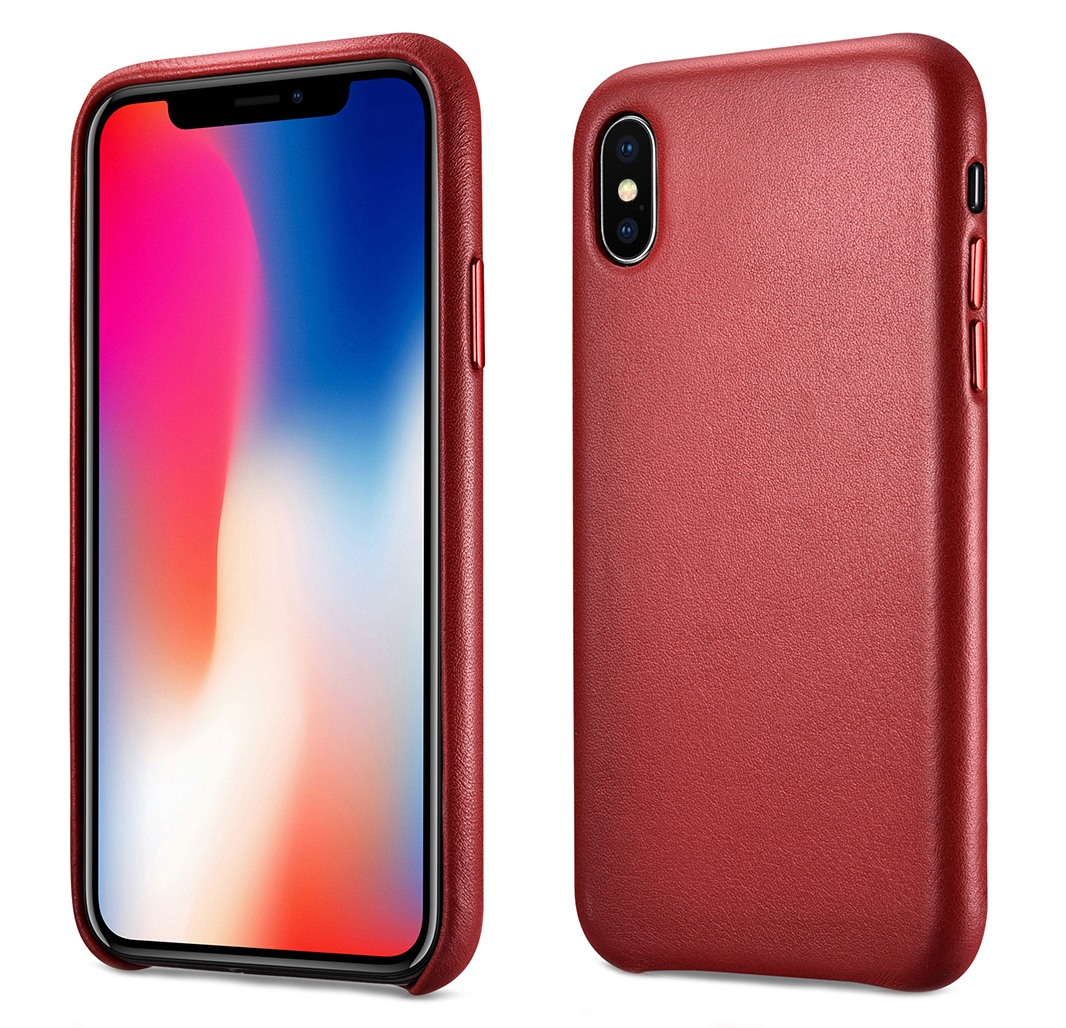 Husa slim din piele naturala, protectie butoane, back cover, iPhone XS Max - iCarer, Rosu