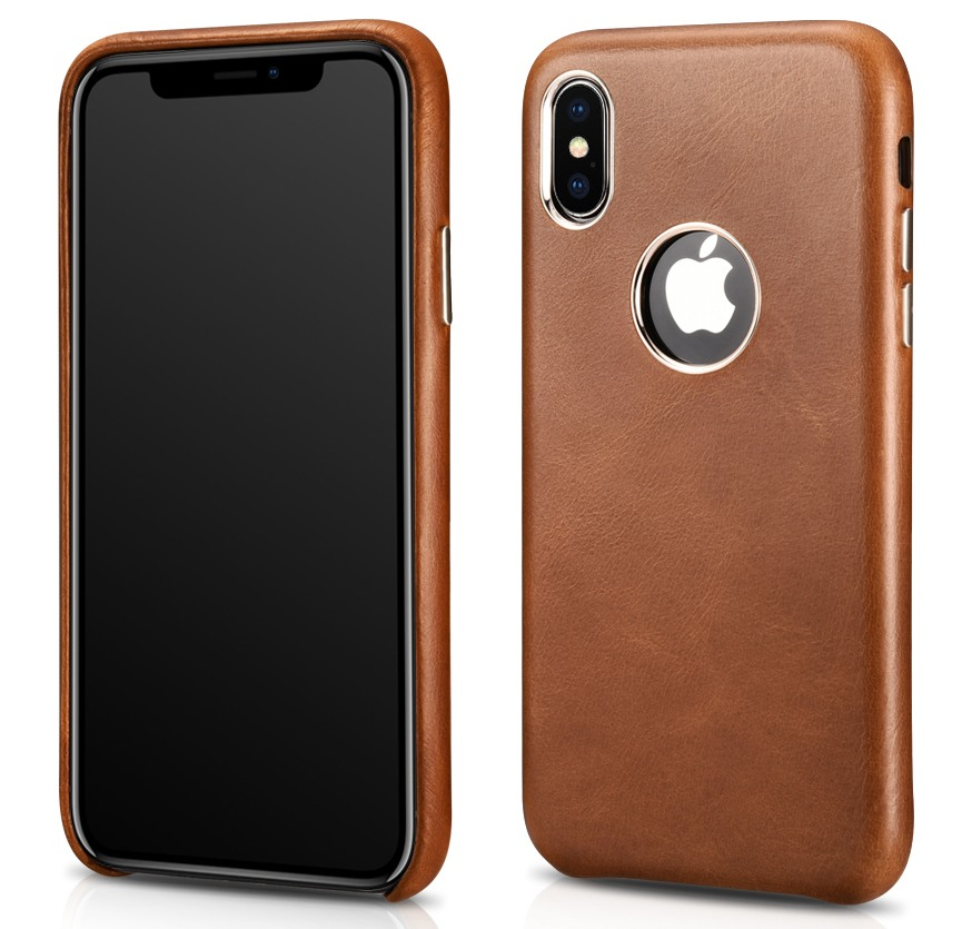 Husa slim din piele naturala, tip back cover, iPhone XS Max - iCarer, Maro coniac