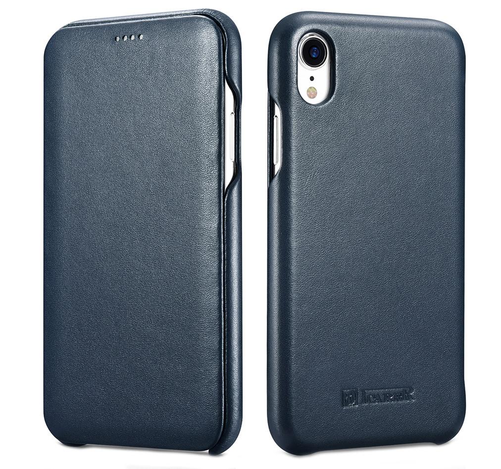 Husa din piele naturala cu clapeta curbata, tip carte, iPhone XR - iCarer Luxury Curved, Albastru