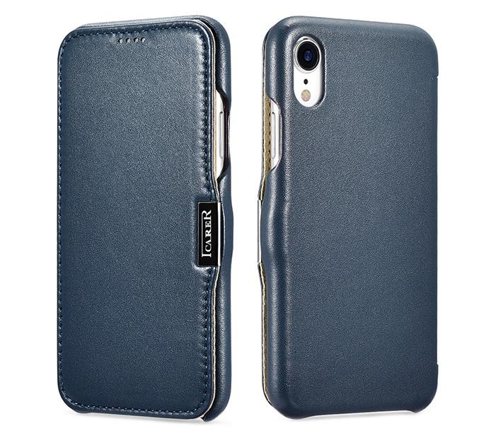 Husa piele naturala, tip carte, inchidere magnetica, iPhone XR - iCarer Luxury Side Open, Albastru