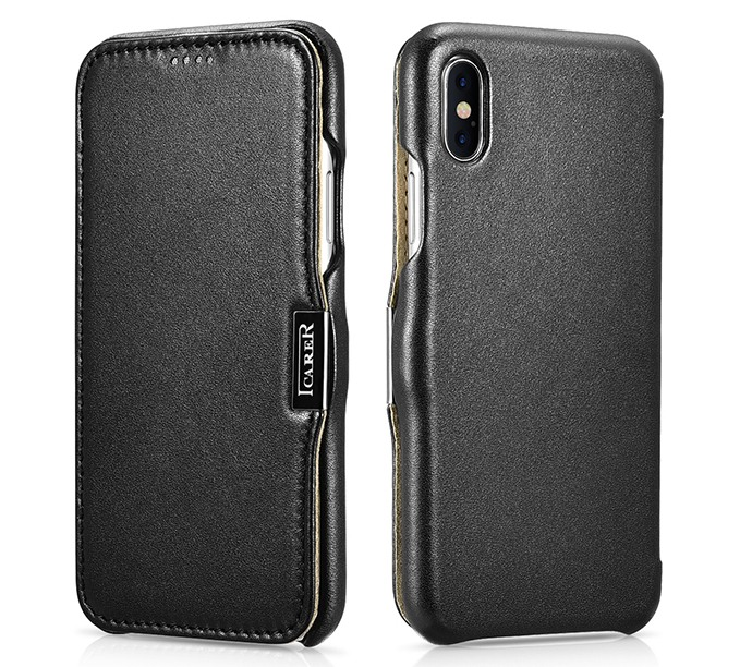 Husa piele naturala, tip carte, inchidere magnetica, iPhone XS Max - iCARER Luxury Side Open, Negru