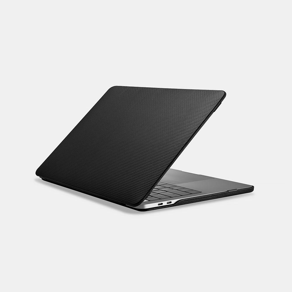 Husa din piele naturala tip carcasa, MacBook Pro 13 inch (2016 - 2020) - iCarer Woven, Negru