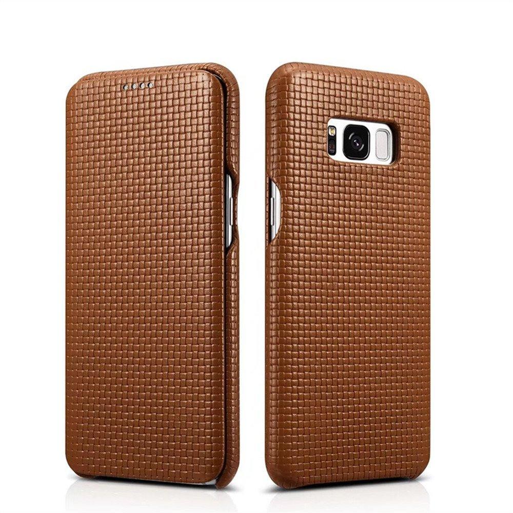 Husa din piele naturala, tip carte, Samsung Galaxy S8 - iCarer Woven, Maro