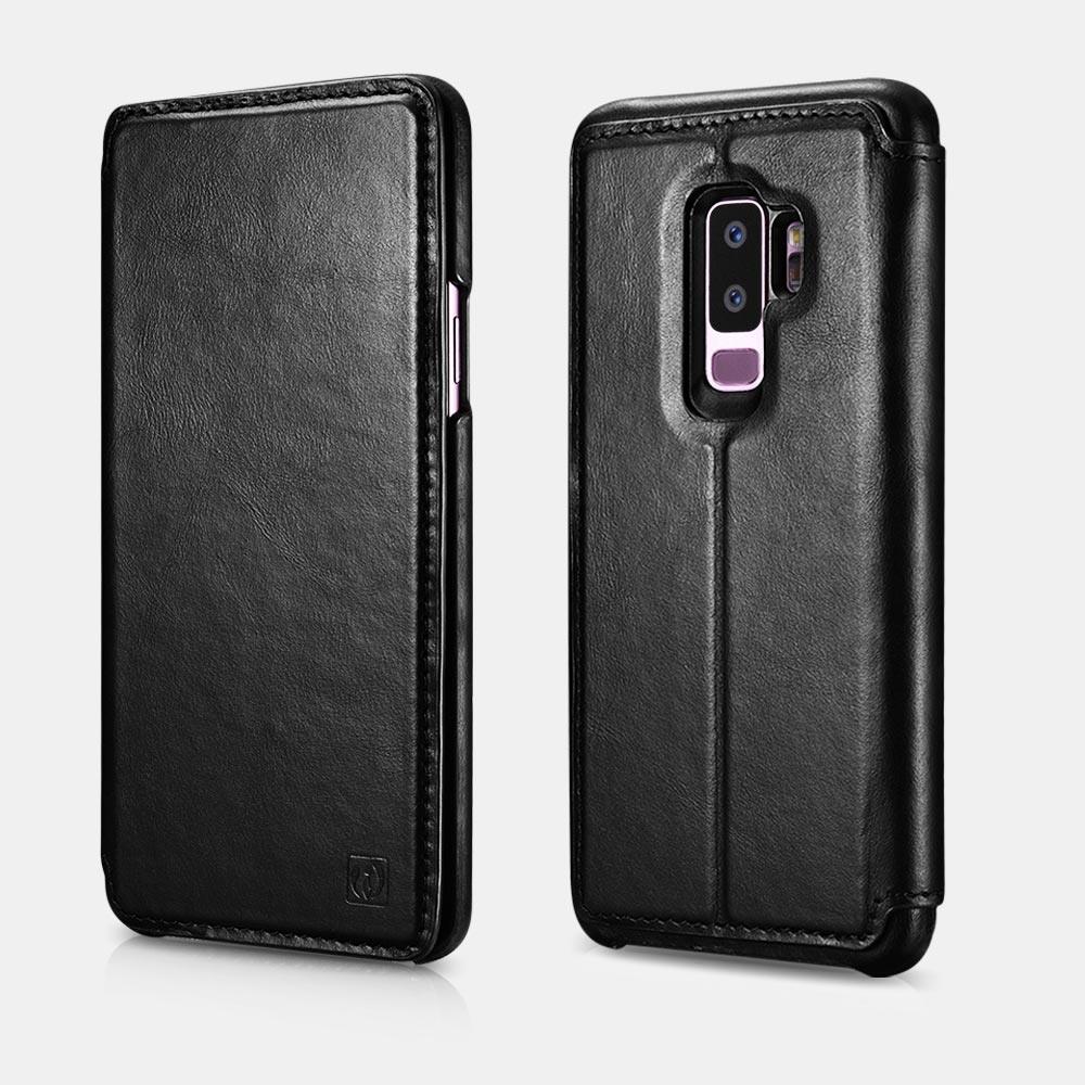 Husa piele naturala 2in1, inchidere magnetica, tip carte + back cover, Samsung Galaxy S9 Plus - iCarer Distinguished V. 2.0, Negru