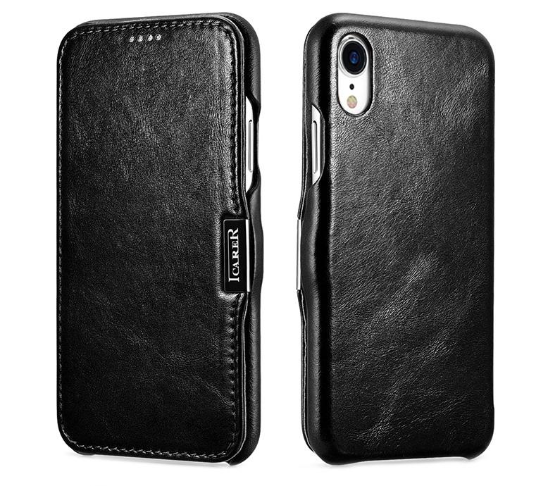 Husa piele naturala, tip carte, inchidere magnetica iPhone XR - iCARER Vintage Side Open, Negru