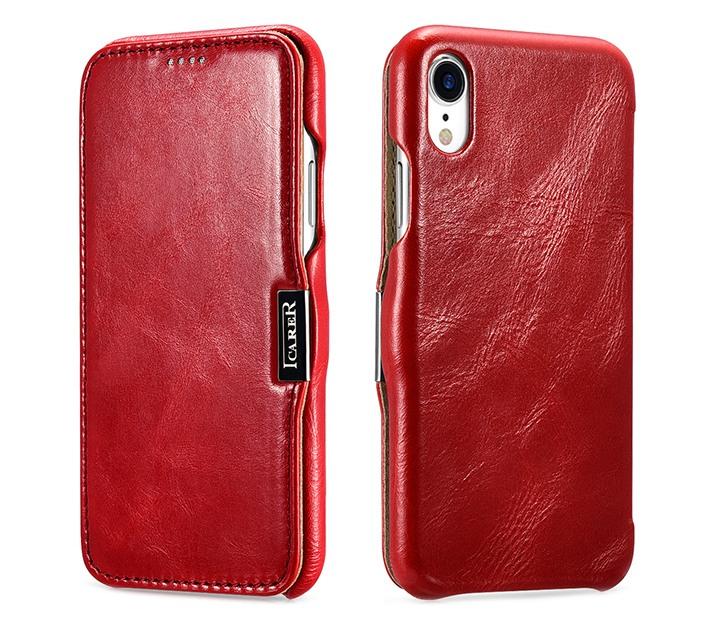 Husa piele naturala, tip carte, inchidere magnetica iPhone XR - iCARER Vintage Side Open, Rosu burgund